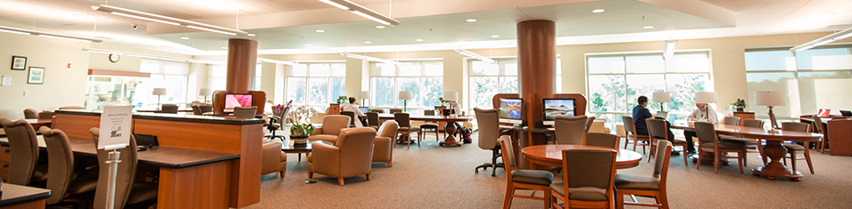 The lobby of the Health Sciences Library is bright and pristine